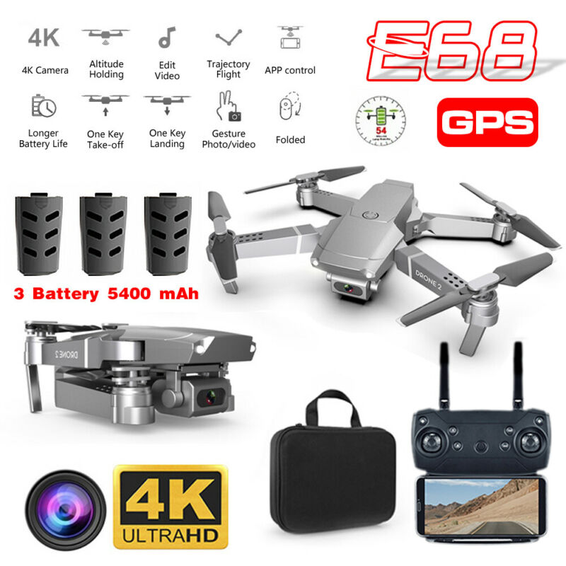 E68 RC Drone & 4K HD Wide Angle Camera Wifi 1080p Fpv Video Live Quadcopter UK