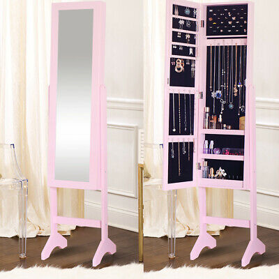 Mirrored Jewellery Cabinet Dresser Makeup Storage Organiser Free Standing Mirror