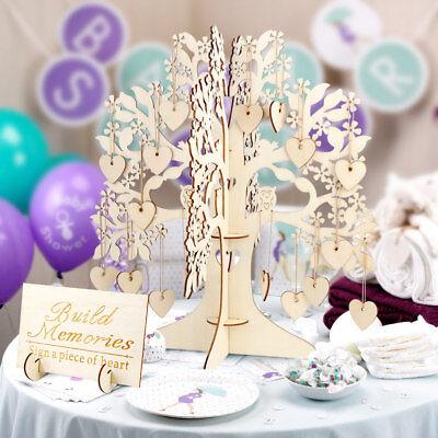 Wood Tree Wedding Guest Book Wishing Tree Wooden Hanging Hearts Pendant - Wedding Wish Tree