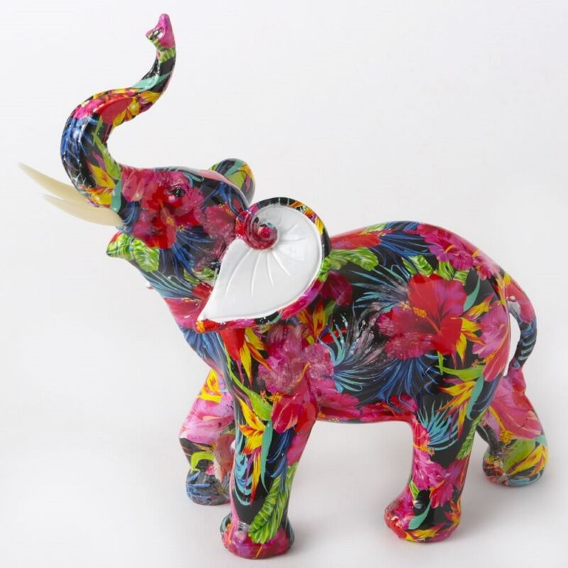 Large Tropical Floral Elephant Figurine 8.75 Inch New