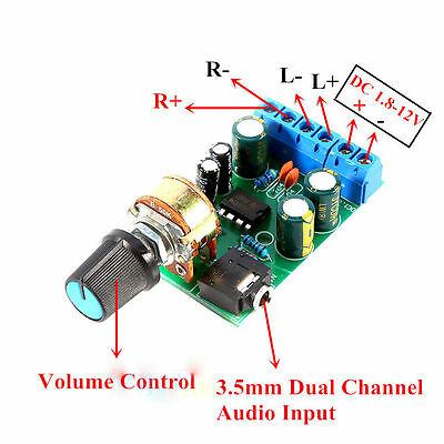 Portable DC 1.8-12V TDA2822M Amplifier 2.0 Channel Stereo Audio Amp Board Module