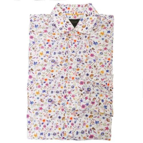 DUCHAMP LONDON Navy Tone and Red /& Blue Floral Print Tailored Shirt
