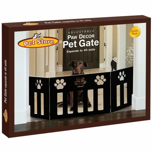 Defect Small - Dog Pet Gate - Black Wood Panel Paw