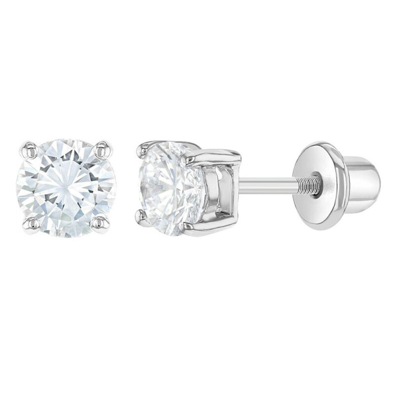 Rhodium Plated Clear Cubic Zirconia Screw Back Earrings for Girls