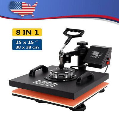 1515 Digital 8 In 1 Heat Press Machine Transfer Sublimation Plate W T-shirt