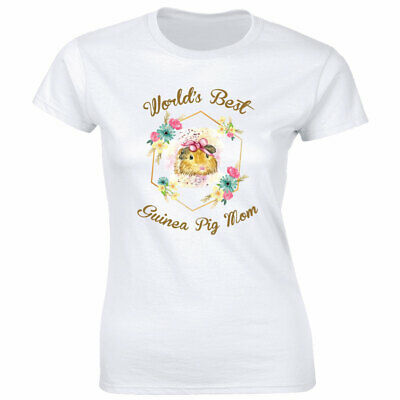 World's Best Guinea Pig Mom with Flowers White Crew Neck T-Shirt for