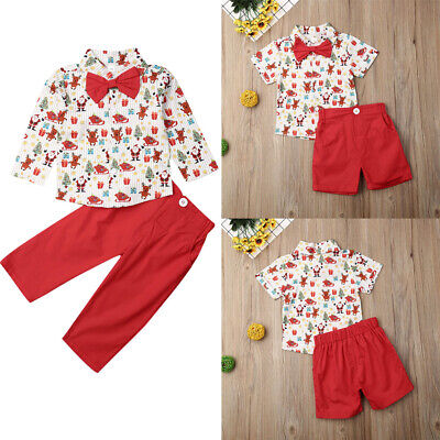 Baby Christmas Suit (US Kids Baby Boy Suit Wedding Bowtie Gentleman Christmas T-Shirt+Pants)
