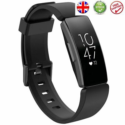Silicone Fitbit Inspire HR Replacement Sports Strap Buckle Band Black Large Uk