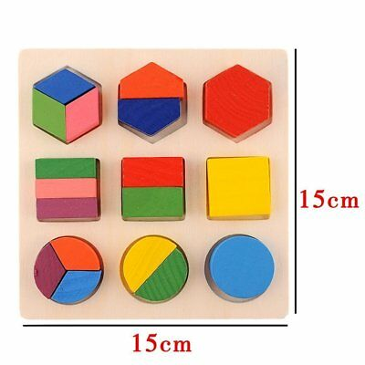 Math Shapes Geometric Wooden Toys Montessori Puzzle Gift USA FAST (Shape Puzzles)