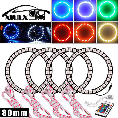Light Bulb Rings - 4X Flashing Angel Eyes Multi-color Halo Ring Bulbs LED Remote kit 80MM RGB 5050