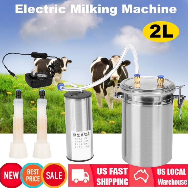 2L Electric Milking Machine Vacuum impulse Pump Stainless Steel Goat Milker Home