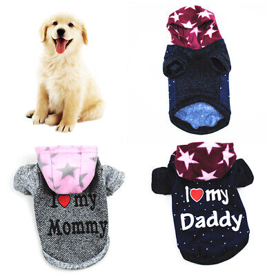 I Love My Daddy Mommy Small Dog Puppy Pet Hoodie Clothes Jacket Coat Apparel New Clothing & Shoes
