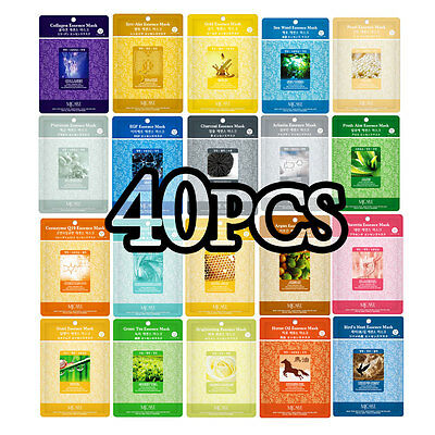 40 Pcs Korean Essence Facial Mask Sheet  Moisture Face Mask Pack Skin Care Lots