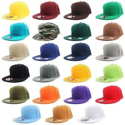 Flat Bill Baseball - Plain Solid Flat Bill Visor Fitted Baseball Caps Snapback Size Colors Basic Hats