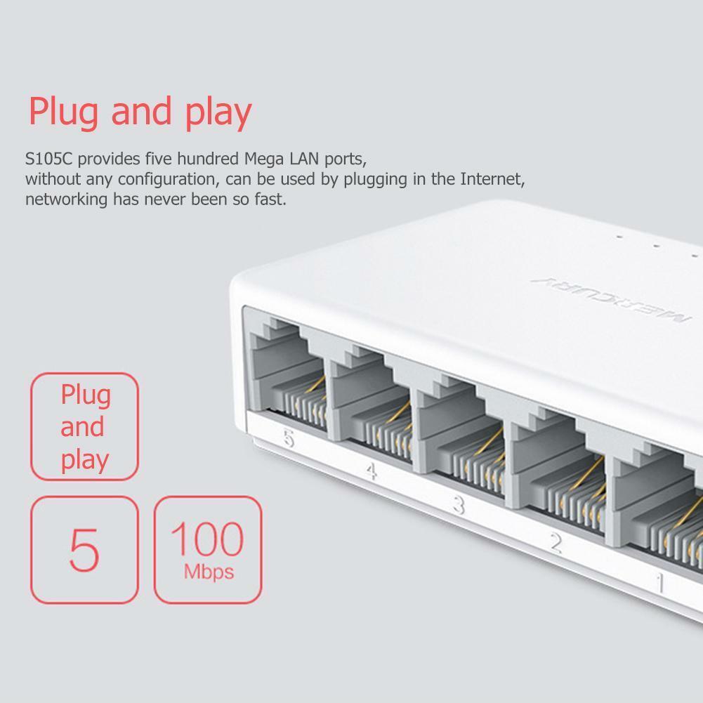 5 Port Network Gigabit Switch 10/100Mbps Desktop Ethernet LA