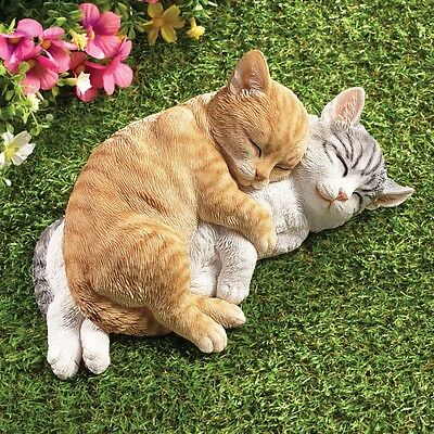 Cute Sleeping Tabby Kitty Cats Garden Yard Statues Lawn Ornament Home Figurine