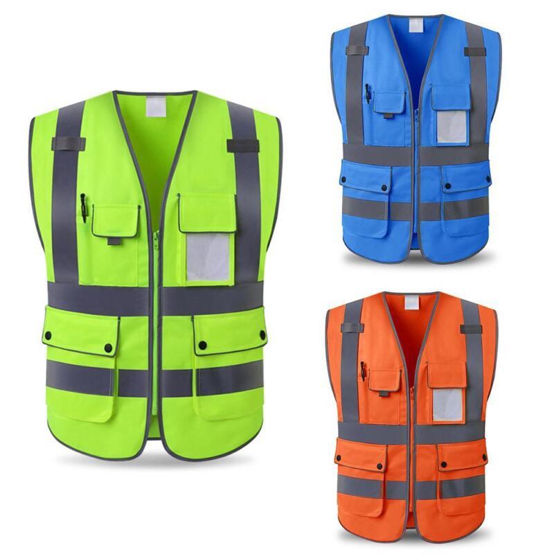 Reflective Vest High Visibility Coat Construction Safety Jacket Waistcoat L-XXL