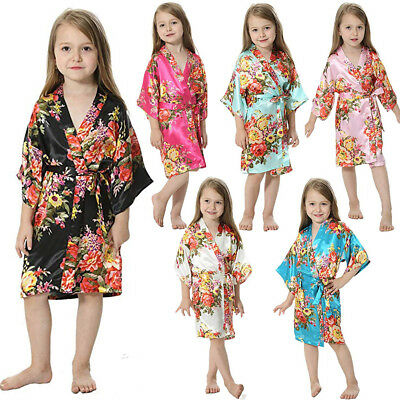 Girls Kid Baby Floral Silk Satin Pajamas Sleepwear Kimono Robes Bathrobe Gown US - Kids Bathrobe