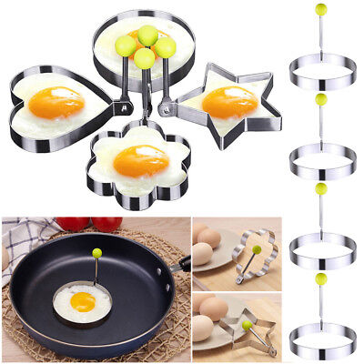 4X Stainless Steel Cooking Shaper Mould Frying Pan Fried Egg Pancake Ring Circle Cooking Eggs Stainless Steel Pan