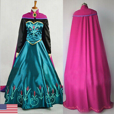 Princess Adult Halloween Costumes (2019 Adult Princess Anna Cosplay Costume Halloween Fancy Stage Dress Set)