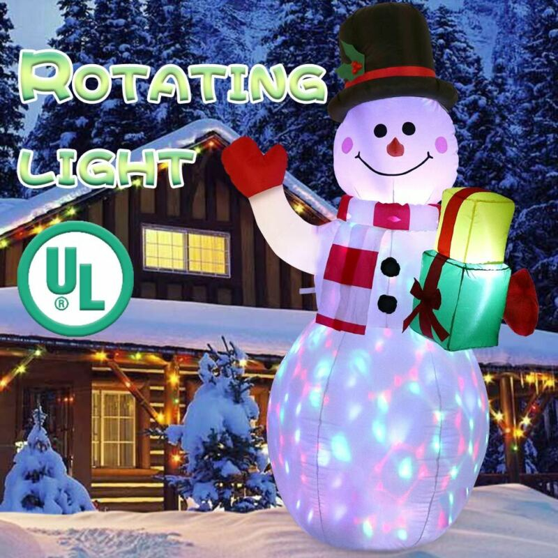 5ft Giant Inflatable Snowman Christmas Decoration w/ LED Lights for Outdoor Xmas