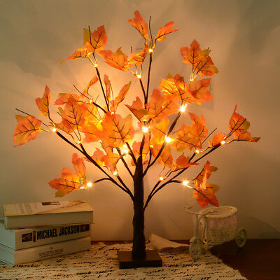 24 LED Lighted Tabletop Fall Maple Tree With Warm White LED Lights Xmas Decor ()