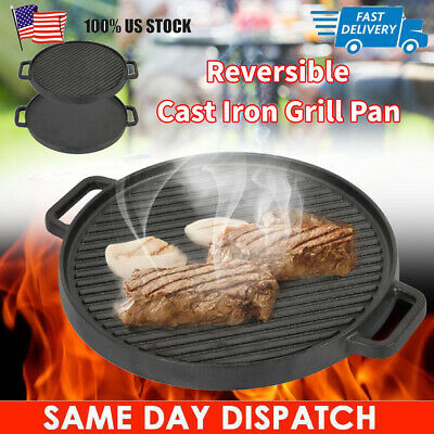 Round Reversible Cast Iron Griddle Grill Plate Pan Steak BBQ Electric Stove Top Reversible Round Griddle