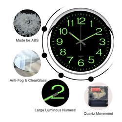 Non Ticking Wall Clock 12 Round Silent Quartz Luminous Night Light Home Decor