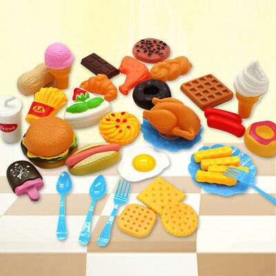 US 34pcs Pretend Toy Play Fast Food Mini Hamburg French Fries Hot Dog Ice Cream