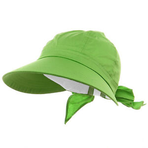 Womens Wide Brim Lined Sun Gardening Beach Boating Hat Cap Bright Lime Green