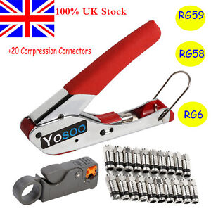Carbon Steel Compression Tool Kit F RG6  F Connector Fitting Crimping Coax Tools
