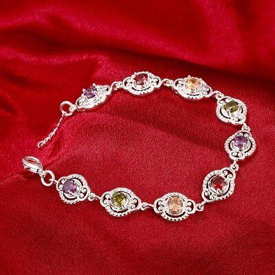 925 Sterling Silver Multi Gemstone Bracelet Topaz Amethyst Citrine Garnet Perido