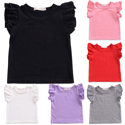 Baby Girls Pullover Ruffle Sleeve Tops Solid Summer Cotton Casual T-shirt Blouse
