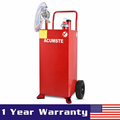 30 Gallon Gas Caddy Tank Storage Diesel Fuel Transfer Tank Container W Pump Red