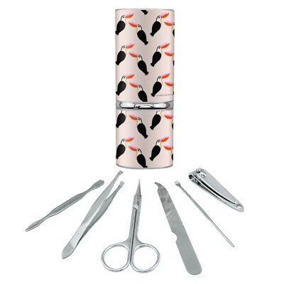Toucan Bird Kiss Pattern Manicure Pedicure Grooming Beauty Care Travel Kit