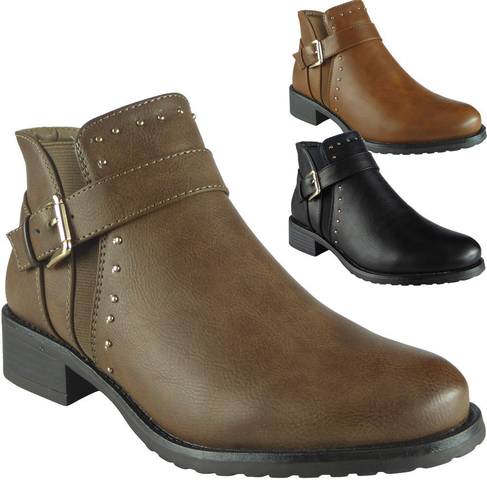 Womens Lace Ankle Boots Ladies Chelsea Chunky Heel Dealer Shoes Size Girls Flat