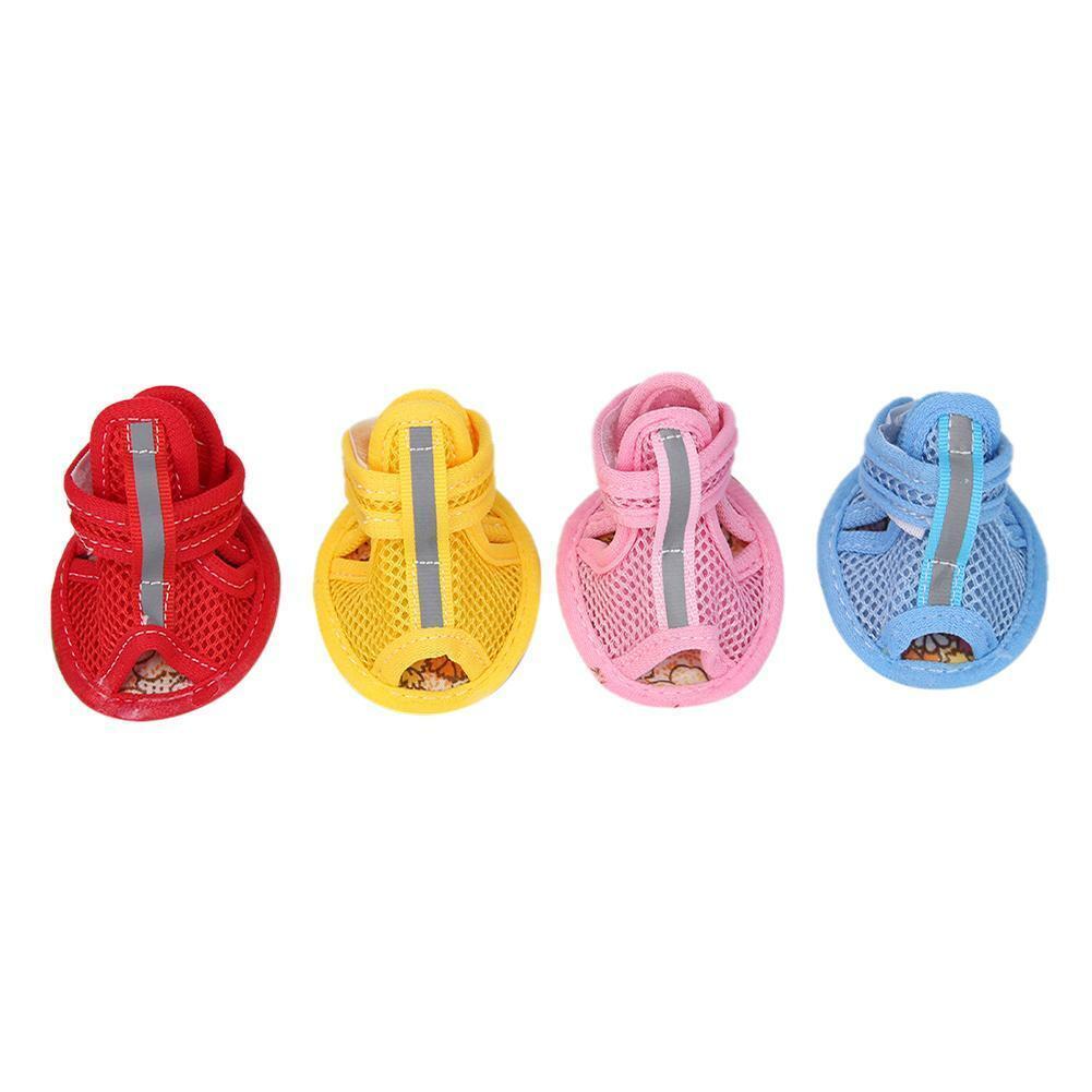 4pcs/set Casual Dog Shoes Pet Summer Breathable Anti-Slip So