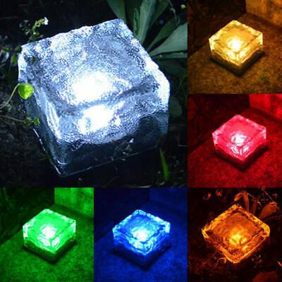 Solar Powered LED Rock Light Waterproof Path Garden Ice Cube Brick Lamp 4 LED US](Ice Cube Lighting)