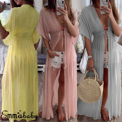 Chiffon Kimono Dress (US Sexy Women Chiffon Kimono Beach Cardigan Bikini Cover Up Tops Long MAXI)