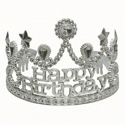 Happy Birthday Tiara Silver Jeweled Plastic Princess Queen Party Crown (Birthday Queen Tiara)