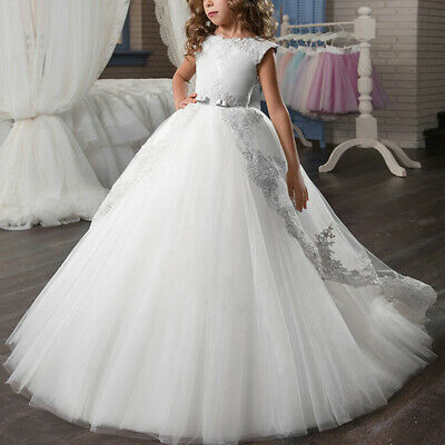 Flower Girls First Communion Dress Tulle Lace Wedding Princess Gown For Junior - First Communion Dresses For Juniors