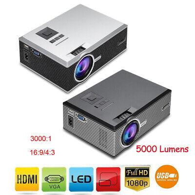 1080P HD LED Mini Projector Home Theater Cinema Beamer HDMI VGA USB 5000 Lumens