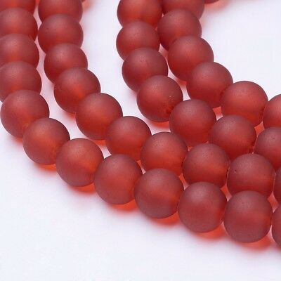 """Transparent Glass Bead Strands Frosted Round Tomato DIY 8mm 105pcs/strand 31.4"""""""