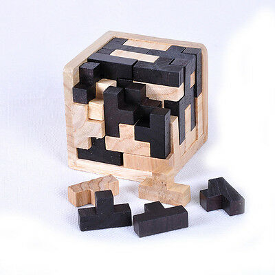 Educational Intelligence Game 3D Wood Puzzles Brain Teaser Tetris Cube 54 Pcs