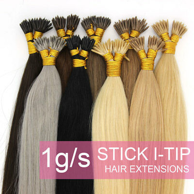 Kertain Stick/I Tip Remy Real Human Hair Extensions Straight 16-24inch 1g/s ()
