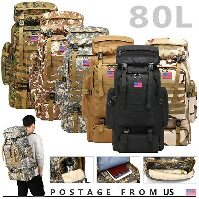 80L Outdoor Military Molle Tactical Backpack Rucksack Camping Bag Travel Hiking