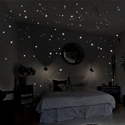 407Pcs Wall Stickers Wall Decor Glow In The Dark Star Sticker Decal for Kid Room