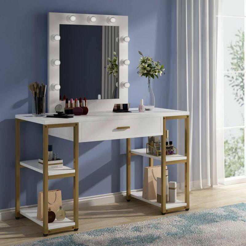 Vanity Table Set with Lighted Mirror for Makeup Dresser Desk with Drawer & Shelf