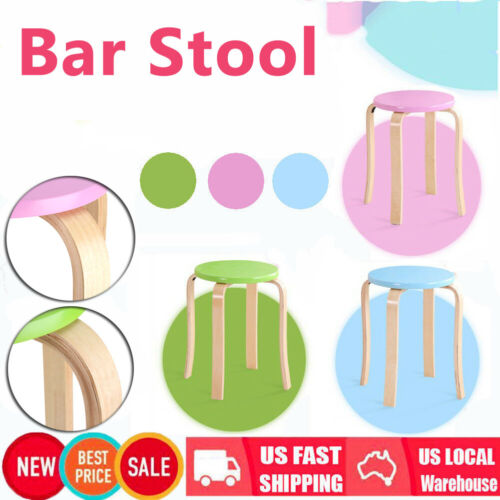 """18"""" Anti-Slip Bent Wood Stacking Stool Candy Color Home Furn"""