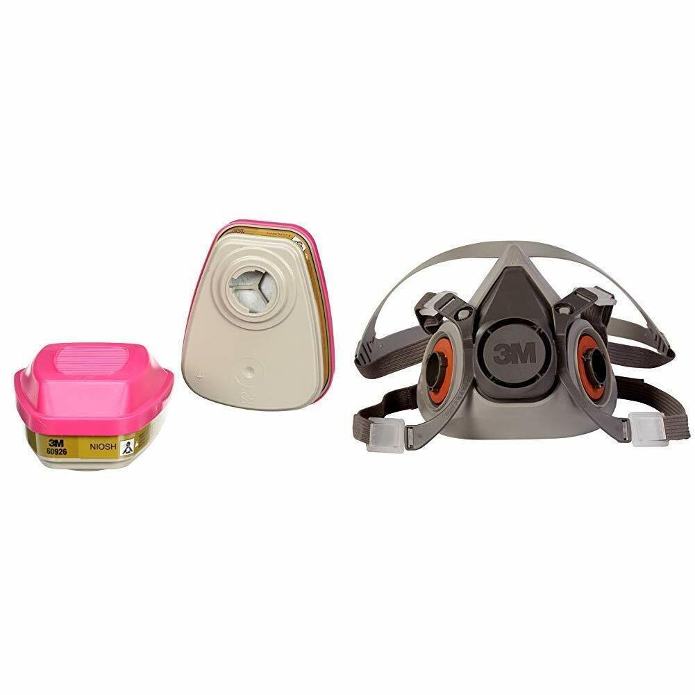 3M 6100 & 2 Each 60926 P1OO Multi Gas/Vapor Cartridge Half Face Respirator SMALL Business & Industrial